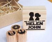 Star Wars wedding stamp set, custom stamp wedding, Padme and Anakin, Star Wars wedding custom stamp, Star Wars stamp, geeky wedding DIY kit