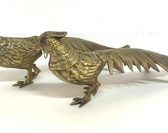 Pair Brass Pheasants Male Female Bird Statues Set of Figurines Peacocks Mid Century Decor