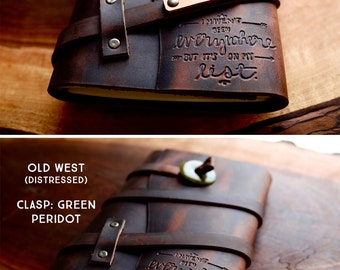 50% OFF --  Personalized Leather Journal -- I Haven't Been Everywhere - Handmade Portland, Oregon... Sale TODAY!