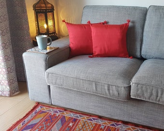 Moroccan handmade red cushion covers made from sabra silk, zip close - set of three