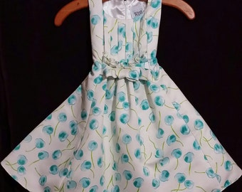 Adorable little girl blue cherry vintag dress, adorned all over with blue cherries, size 6