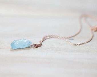 Raw Aquamarine Necklace on Sterling Silver or Gold Filled Chain, Raw Gemstone Necklace, Rough Aquamarine Pendant, Rose Gold Filled Layering