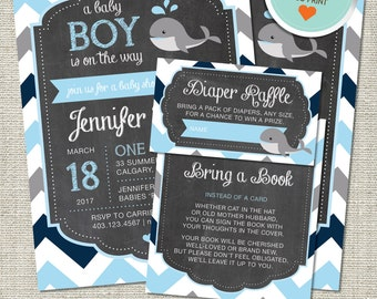Whale Baby Shower Invitation, Whale Invitation, Whale, Light Blue, Gray, Navy Blue, Chevron | DIY