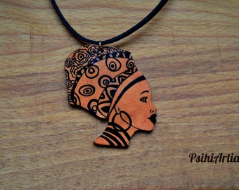 Afrocentric necklace Afrocentric jewelry African woman necklace African woman jewelry Polymer clay pendant Africa jewelry Summer necklace