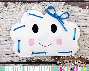 Cloud Lacing Card ITH Embroidery Design
