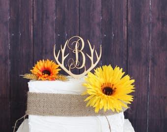 Cake Topper-Wooden Deer Antlers-Laser Engraved Antler Rack Cake Topper-Rustic Cake Topper-Wood Cake Topper-Personalized Cake Topper
