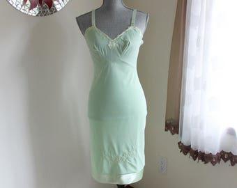 Green Full Slip by Movie Star Size 32 Satin Applique and Hem Vintage 70s Lingerie RN 15411
