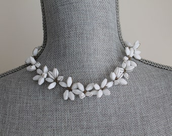 Wired Flower White Glass Necklace West Germany 1950s Beads 12 to 16 Inch Wire Wrap