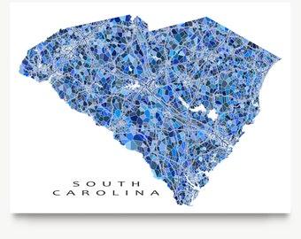 South Carolina Map Print, South Carolina State Art, SC Wall Decor