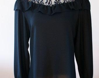 Irving Nadler Black Crepe Long Sleeve Blouse w/ High Collar & Lace Yoke NWT Deadstock Size 7/8 BTK-020