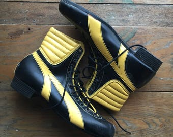 Vintage Black & Ivory Boots | Mens 12 | 1920's Style