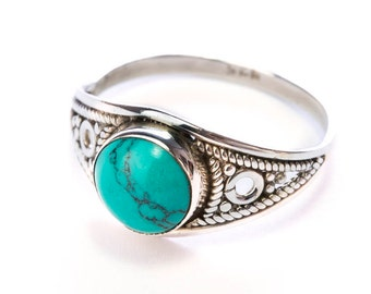 Sterling SilverTurquoise Gemstone Handmade Boho Ring Gift Boxed , Free UK Delivery ST2