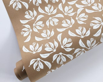 Floral Wrapping Paper - White Wrapping Paper Roll, Kraft Wrapping, Wedding Gift Wrap, Decorative Paper, Bridal Shower, Screen Print, 9 ft