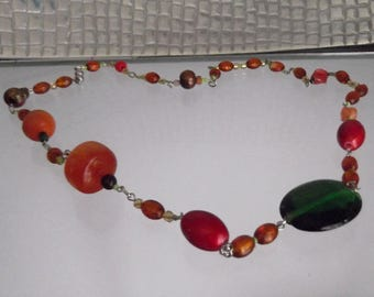 Multi Coloured Fancy Bead Chain Link Necklace
