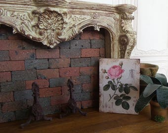 Miniature Panel, Rose old, printed on wood, accessory decoration for in 1/12 scale Dollhouse