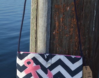 Nautical Crossbody Bag with Anchor Applique, Handbag