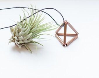 Copper Pyramid Necklace - copper tube - minimal design - cotton cord / minimalistic pyramid pendant necklace / timeless design