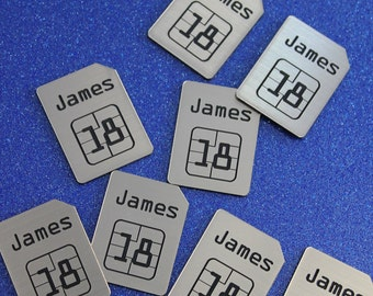 SIM CARD Design Silver & Black PERSONALISED Birthday Party Table Confetti / Scatters