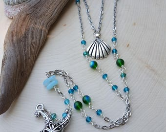 Layered Beach Love Necklace - Mermaid Necklace - Shell Necklace - Starfish - Sea glass - Summer Jewelry - Layering Necklace - Mermaid Gifts
