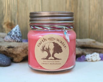 Sweet Memories - 8 oz Soy Candle - Hand Poured Soy Candle - Mason Jar Candle - Beach Decor