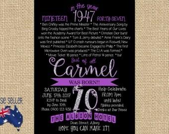 Printable 70th Birthday Invitation 1947 Purple