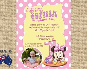Printable Minnie Mouse First Birthday Invitation, Minnie Mouse Party, Baby Minnie