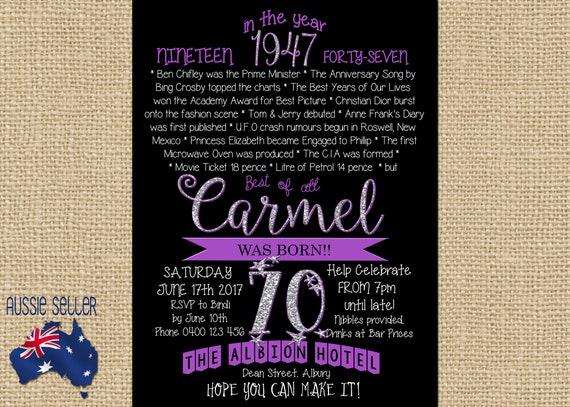 Printable Birthday Facts ~ Printable 70th birthday invitation 1947 purple seventieth