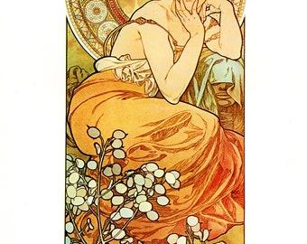 """Alphonse MUCHA 1976 Authentic Vintage Art Nouveau PRINT """"Topaze"""""""