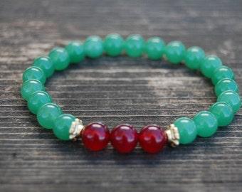 Jade Bracelet,Gemstone 8mm Round Beads,Elastic Bracelet Fit All,Gemstone Stretch Bracelet,Man,Woman, Beaded Jewelry,Gift,Good luck Bracelet