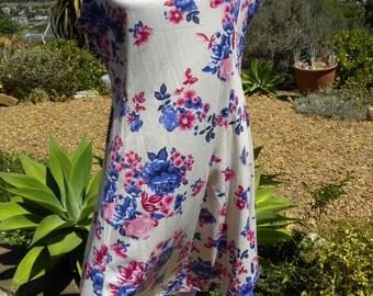 Beautiful pink blue floral stretch vintage rockabilly dress size uk 14 usa 12