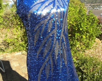 Beautiful blue stretch sequined party dress, unworn vintage, size uk 12 usa 10, 60s style