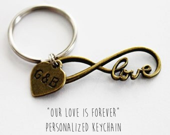 Our LOVE IS FOREVER. Forever Love. Infinity. To Infinity. Personalized. Couples keychain. Gift For Her. Love Forever. Initial Keychain,
