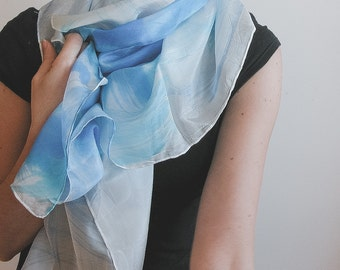"""Hand painted silk shawl, """"forget me not"""" blue"""