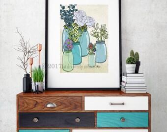 Kerr jar and flower bouquet print. Botanical flower Poster. Flower Garden art print. Flower bouquet poster. Kerr Jars and flowers wall art