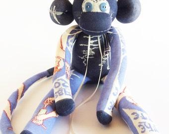 Absinthe Sock Monkey - Absinthe Robette Sock Monkey - Sock Monkey - Absinthe Robette - Art Deco - Art Deco Gift - Blue Sock Monkey