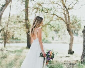 Sample SALE Gillian/ Lace Bohemian Wedding Dress / Cotton Lace with OPEN BACK Boho Romantic Wedding Dress /Thin Spaghetti Strapless