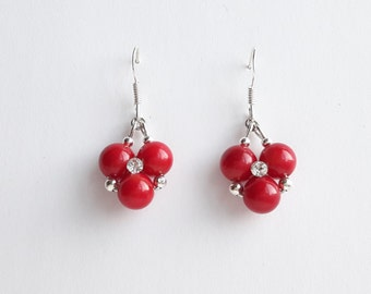 Red Earrings // Mothers Day Gift // Sterling Silver earrings // Sea bamboo Jewelry