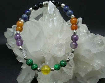 Beaded Chakra Healing Gemstone Stretch Bracelet.