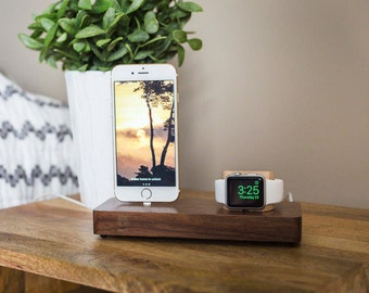 wood apple watch dock apple watch docking station iphone 7 dock iphone charging - Iphone Charging Station
