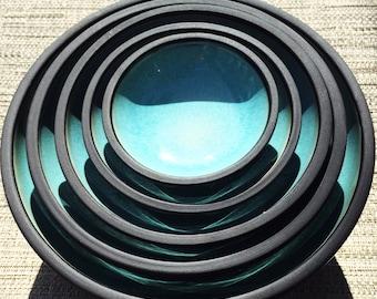 Dinnerware Set, Oryoki Set, Porcelain, Light Blue, Matte Black, Nesting Bowls