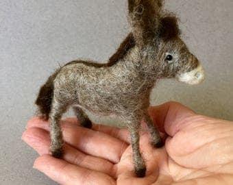 felted donkey, needle felted donkey, wool felted donkey, felted animal, felted burro, wool burro, stuffed donkey, stuffed burro