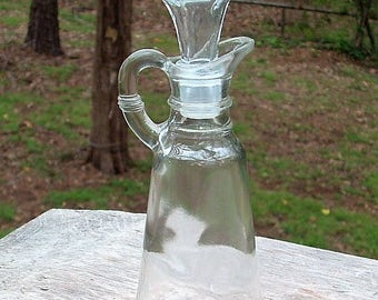 ZERO SHIPPING! - Vintage Anchor Hocking Cruet with Stopper - Olive Oil, Condiment, Dish Liquid - Bud Vase