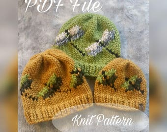 Knit Hat Pattern, Knit Pattern, PDF File, Dragonfly hat pattern, Knitting Pattern, knit beanie pattern, pattern, Knit dragonfly hat, beanie