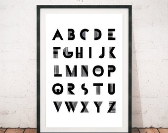 Alphabet print, Black and white art, Alphabet art print, Alphabet poster, Letters poster, Modern art print, Wall prints, Wall art