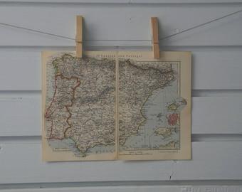 1933 Vintage Spain & Portugal Map