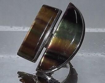 Rainbow Fluorite silver ring.Fluorite gemstone ring.Coktail ring.Handemade big ring.Italian jewelry. Made in Italy.round stone ring.Rainbow