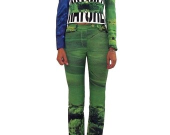MOSCHINO 90s Nature Future Jacket & Pants Set SIZE 38 IT Grass Moon Sky Vintage