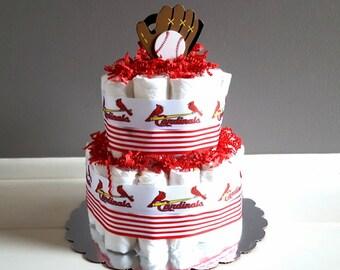 Diaper Cakes/ St. Louis Cardinals Inspired Diaper Cake/ Baseball Diaper Cake/ Boy Diaper Cake/ Baby Shower Centerpiece/ Cardinal Diaper Cake