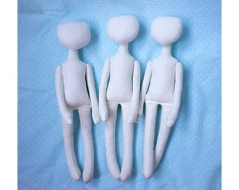 3 Blank doll bodies, blank rag doll, ragdoll body,the body of the doll made of cloth