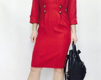Vintage Red dress 90s dress size 2 dress red dress short red dress pencil dress 90s short dress short vintage dress red vintage long sleeve